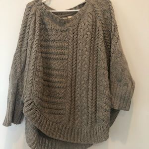 Anthropologie Heavy Knit Poncho Style Sweater